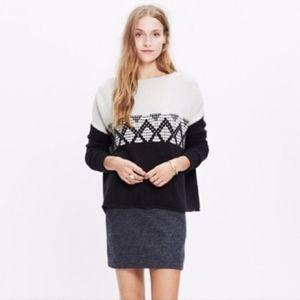 Madewell Contrast Fair Isle Pullover Sweater